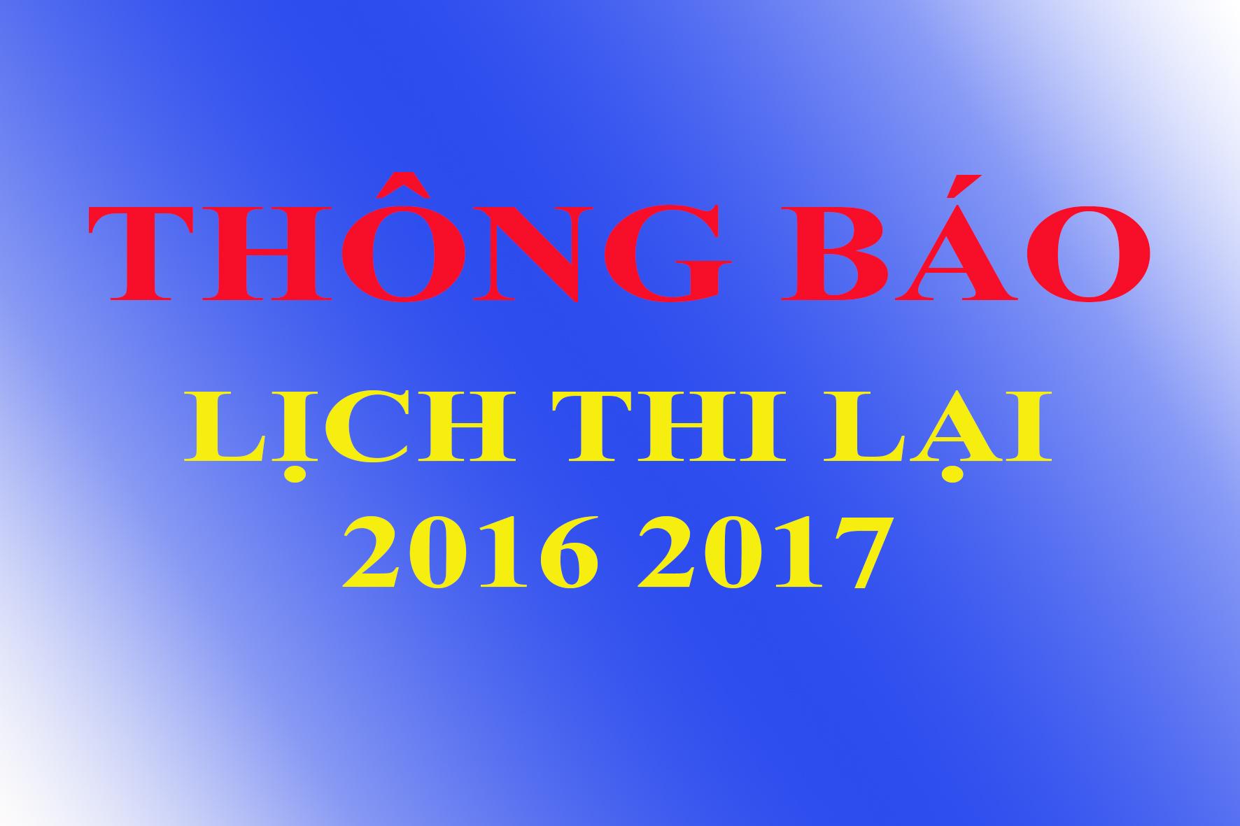 Lịch kiểm tra lại 2016 - 2017